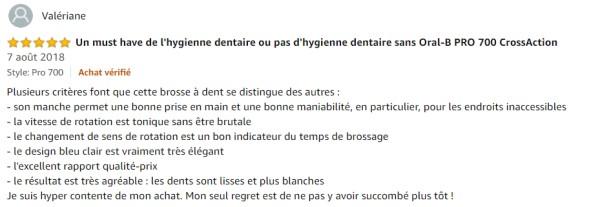 Commentaire client Oral-B Pro 700